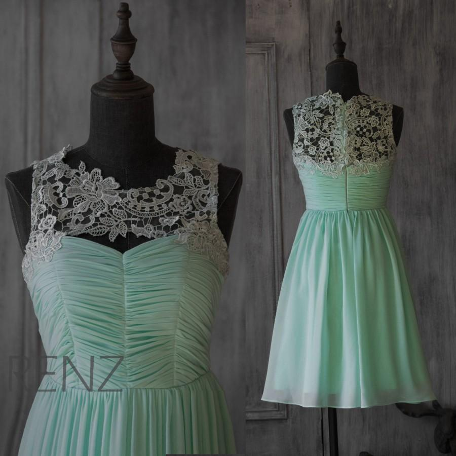 2015 mint chiffon bridesmaid dress illusion lace neck short 2015 mint chiffon bridesmaid dress illusion lace neck short wedding dress a line party dress formal dress prom dress knee length f007a ombrellifo Images