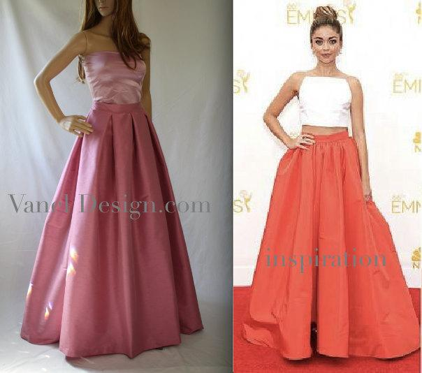 Mariage - Bridesmaids Long Maxi Skirt with pockets Elegant Pink skirt Famous skirt formal pleated skirt