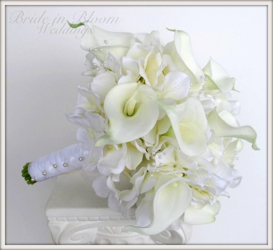Mariage - Brides wedding bouquet white calla lily Bridal bouquet
