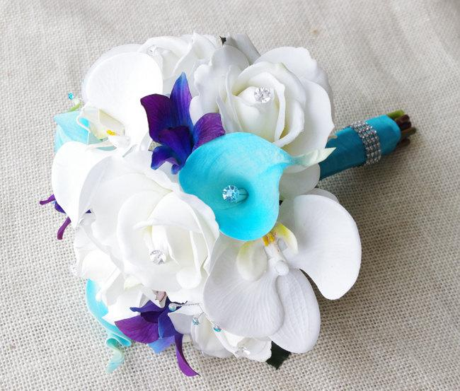 Mariage - Silk Wedding Bouquet with Off White Roses, Blue Purple Orchids and Aruba Turquoise Callas - Natural Touch Silk Flower Small Bouquet