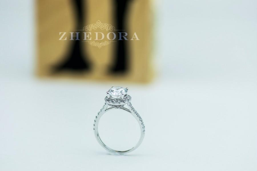 Mariage - 3.30 CT Engagement Ring Round Cut Halo Solid 14k White Gold Bridal band Lab-Created Stone Simulated Diamond