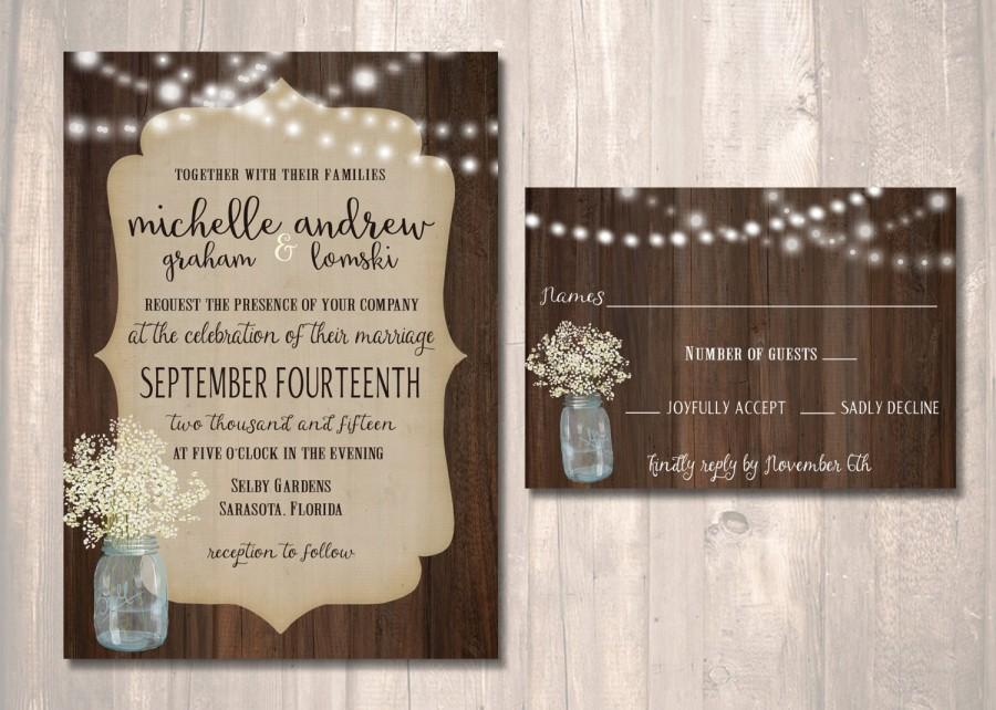 Printable Wedding Invitation Sets: Rustic Wedding Invitation Set, Mason Jar With Baby's