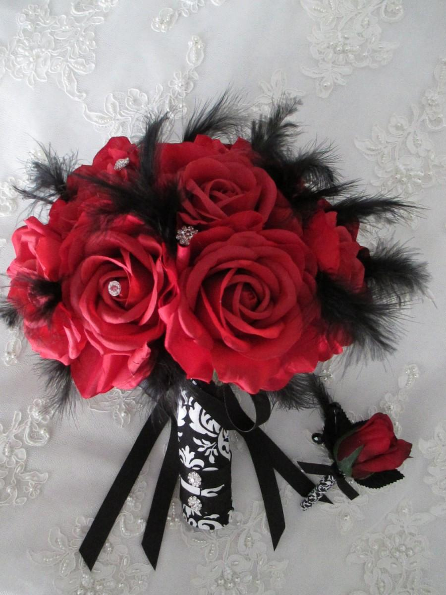 Mariage - FREE SHIPPING 15 piece Red Silk  Roses Black And White Damask Bridal Bridesmaids and Boutonniere Destination Wedding Bouquet Set