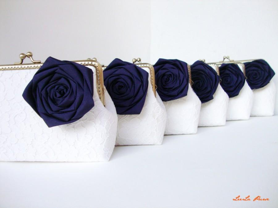 Mariage - Nautical Wedding ideas/  6* Navy Blue Bridesmaid gifts with chains / choose your own initial option