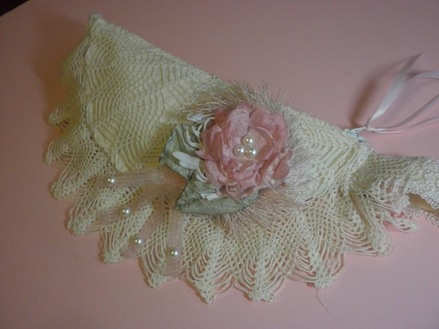Mariage - shabby chic wedding bag/wristlet