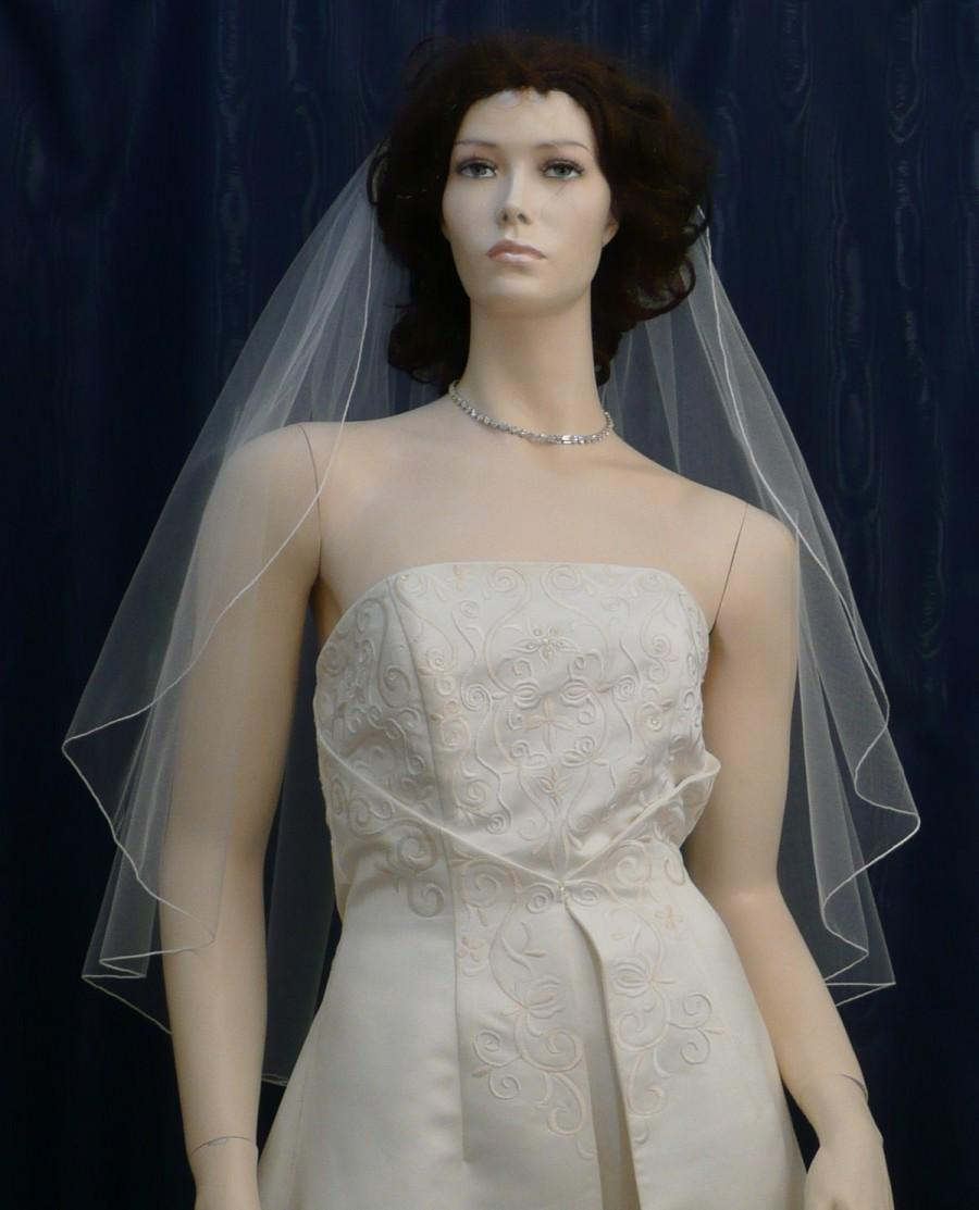 Mariage - wedding veil   Fingertip length Cascading Angel Cut  finished with a delicate pencil edge