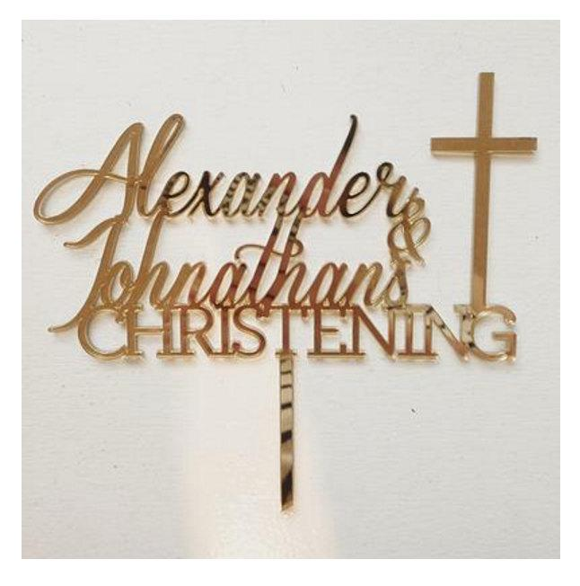 Mariage - Custom cake toppers for Oliver's Baptism, Oscar's Baptism, Baptism cake topper, christening