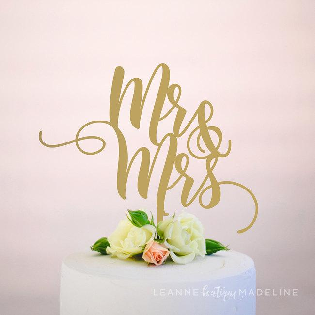 Mariage - mr and mrs : wedding cake topper