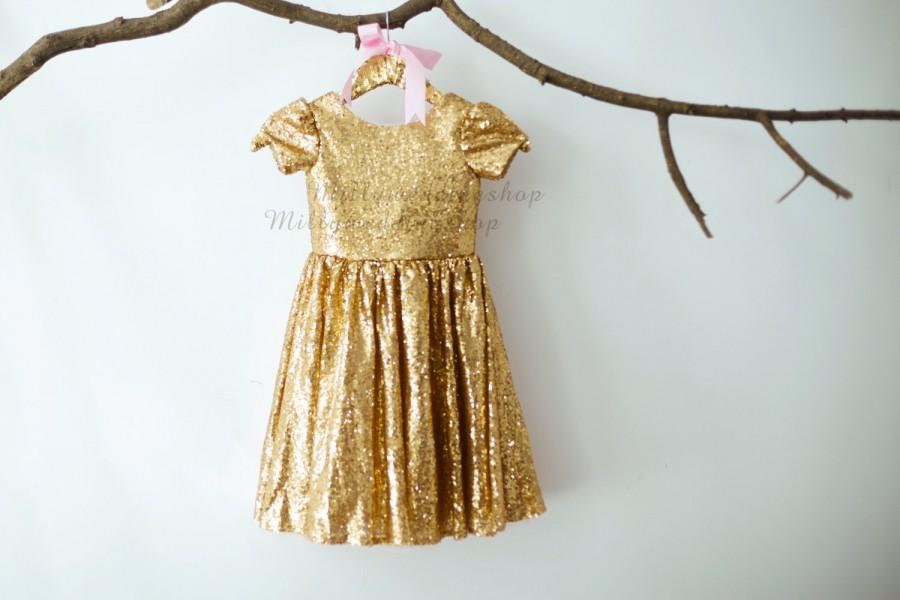 Mariage - Cap Sleeves Champagne Gold Sequin Flower Girl Dress Junior Bridesmaid Wedding Party Dress