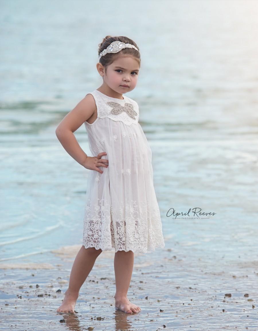 Flower girl dress white flower girl dress beach flower for Flower girl dress for beach wedding