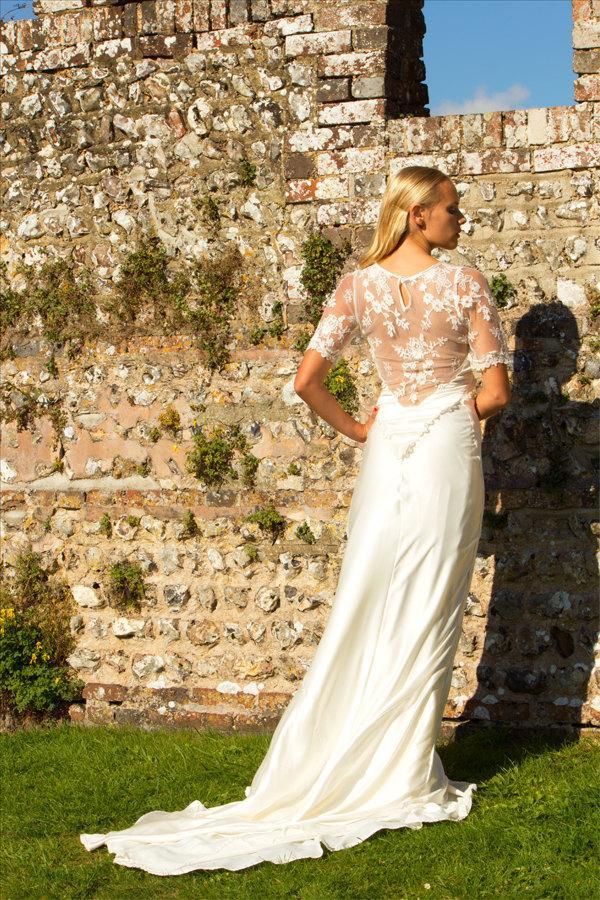 Liquid Silk Satin 1930s Style Wedding Dress With Lace Trim 2448538
