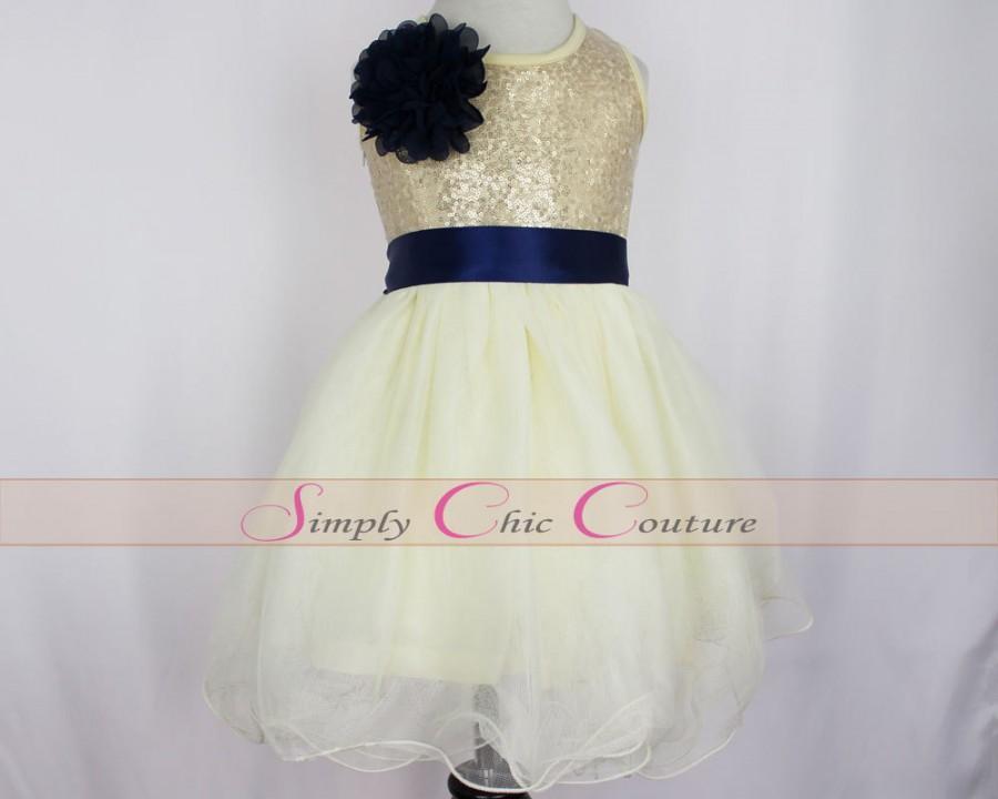 Navy Blue Gold Sequin Flower Dress Ivory Tulle Junior Bridesmaid Birthday