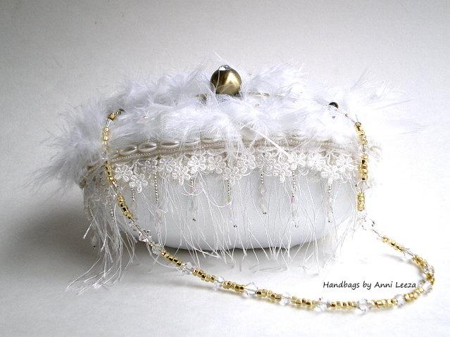 Mariage - white bridal clutch, evening bag, bridal purse, 25% COUPON SALE, shabby wedding, couture bridal bag, ostrich feathers, flapper purse, prom