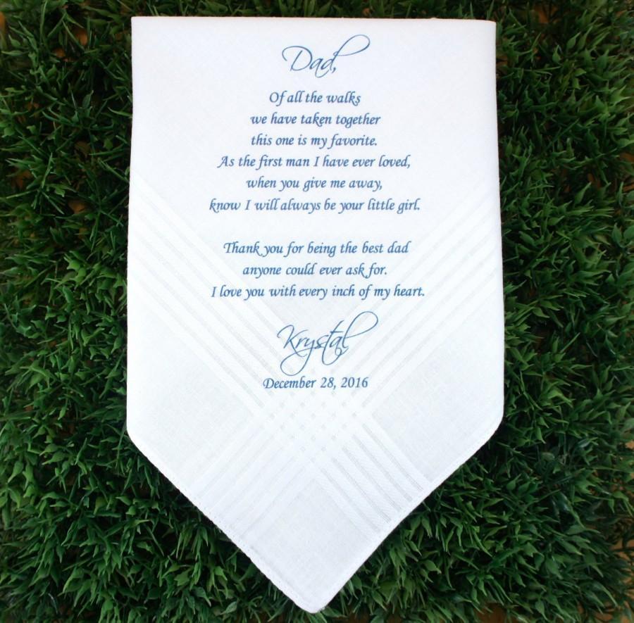 Father Of The Bride Handkerchief Wedding Hankerchief Printed