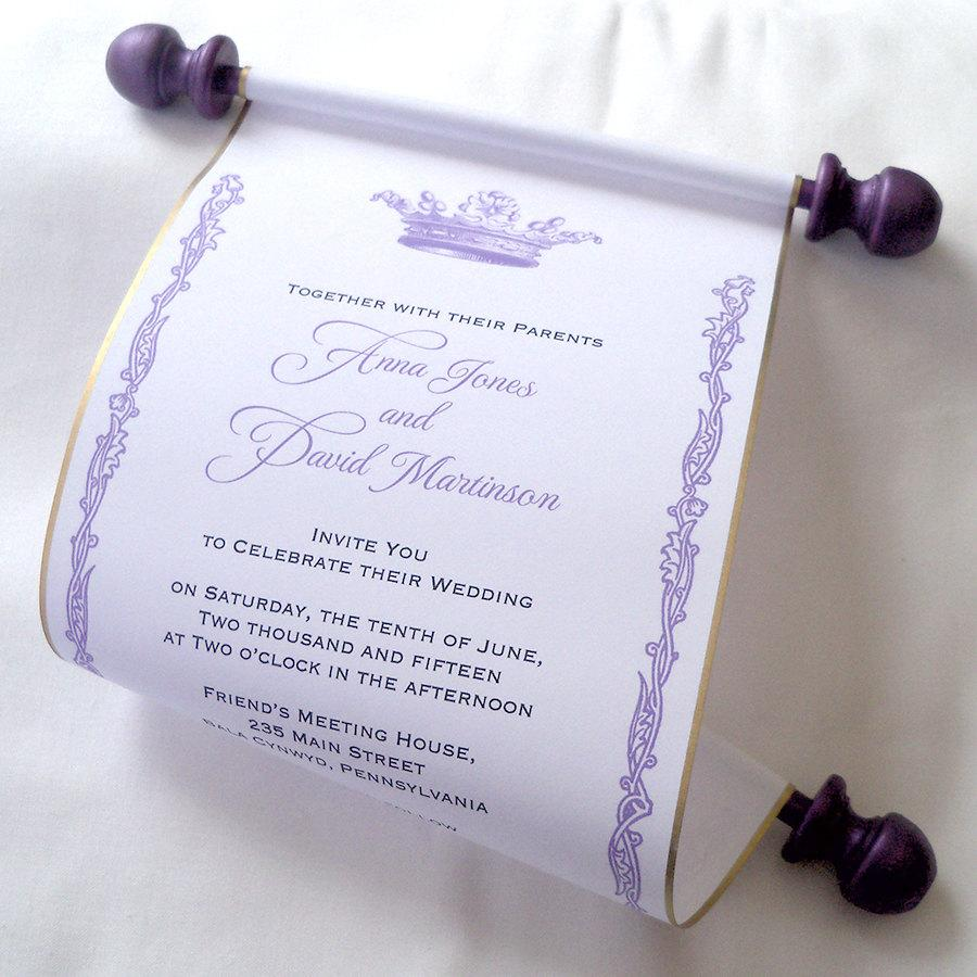 royal wedding invitation paper scroll invitation crown invitation