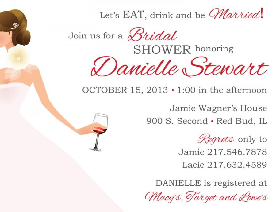 Wine Theme Bridal Shower Invitation Thank You Card