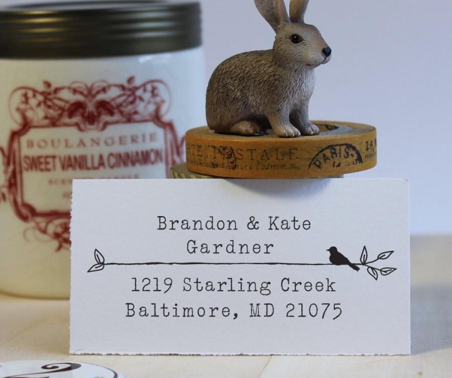 Mariage - Return Address Stamp, Custom Address Stamp, Wedding address stamp, Self Inking Address Stamp - Type & Bird