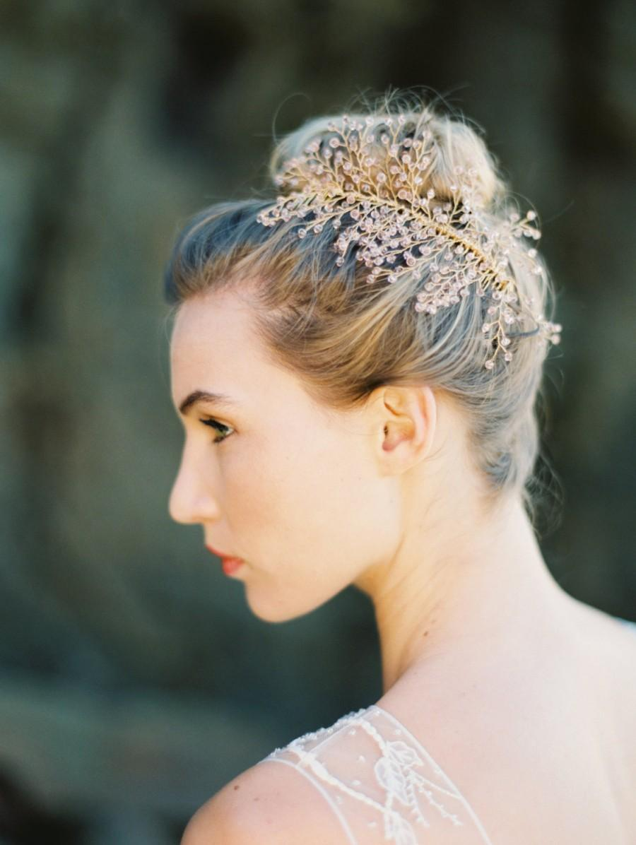 Свадьба - Bridal Headpiece, Handwired Crystal Comb Astilbe Flower, Blush Headpiece, Crystal, Pearl - Style 4015