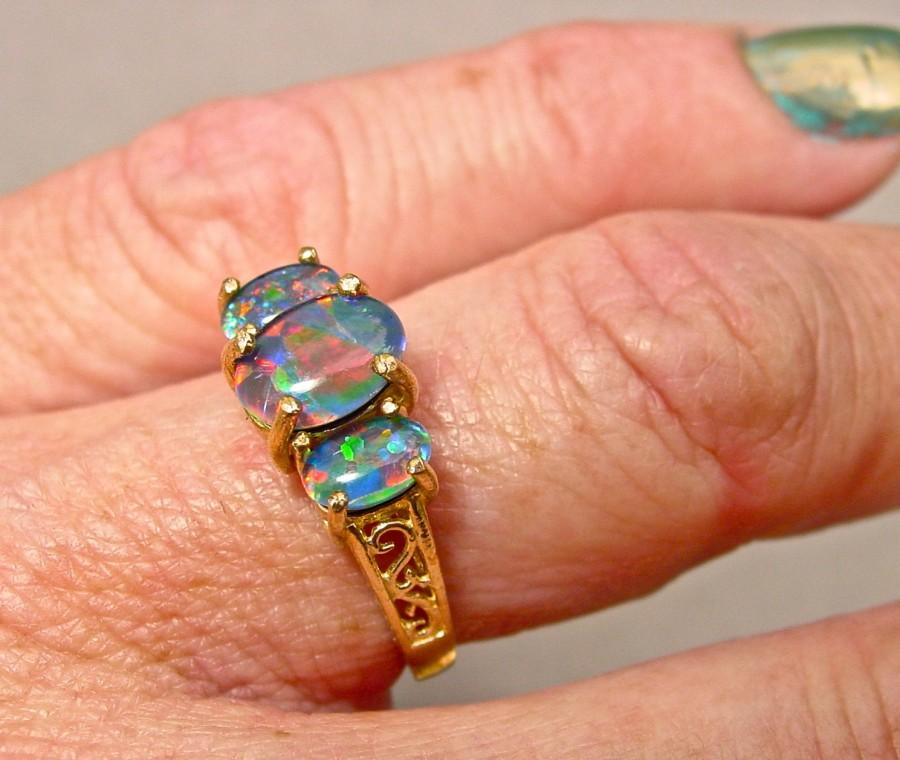 Opal Engagement Ring Triple Opal Filigree Ring Natural