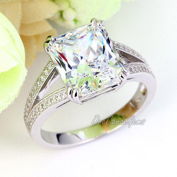 Wedding - 925 Sterling Silver Wedding Bridal Engagement Ring 6 Carat Ct Radiant Cut Lab Made Diamond