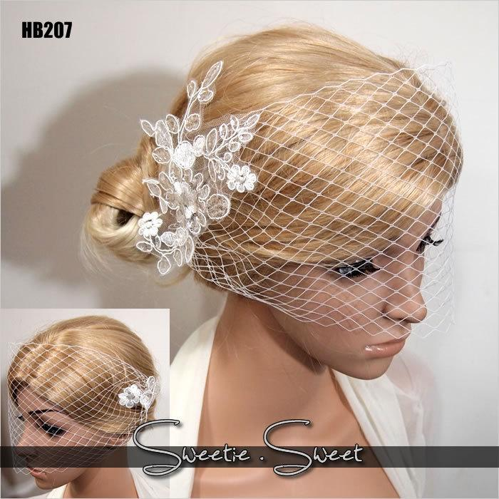 Mariage - Bridal Veil, Wedding Veil, Bridal Comb, Face Veil, Birdcage Veil, mini veil, Blusher veil, Vintage Flower Fascinator, Head piece HB207
