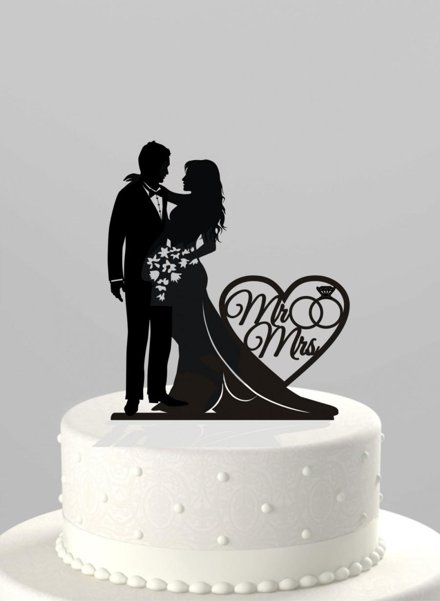 """Mariage - Ships NEXT Day! Wedding Cake Topper Silhouette Bride and Groom with """"Mr & Mrs"""" Cake Topper in BLACK Acrylic [CT66mm]"""