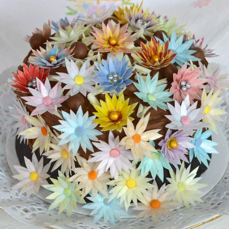 100 X Edible 3d Daisy Flowers Mixed Assorted Colours Cake
