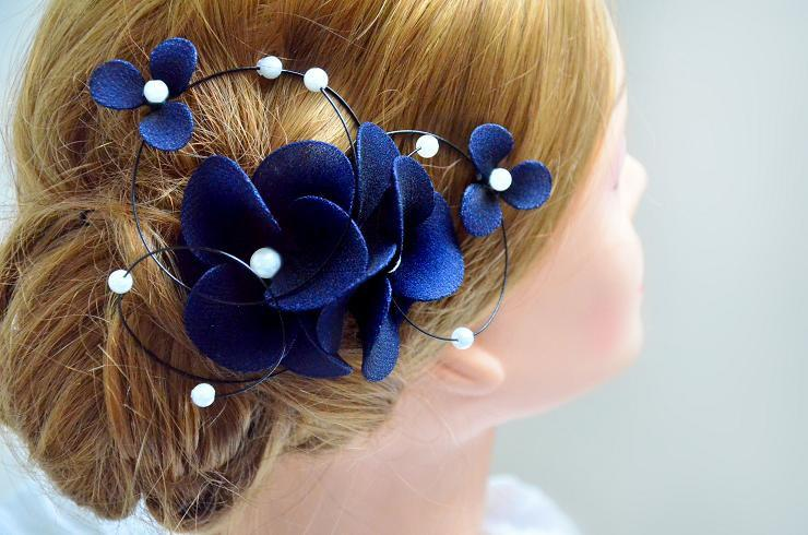 Wedding - Floral headpiece  Navy headpiece Bridal hair clip Wedding fascinator Wedding hair accessories Hair pin
