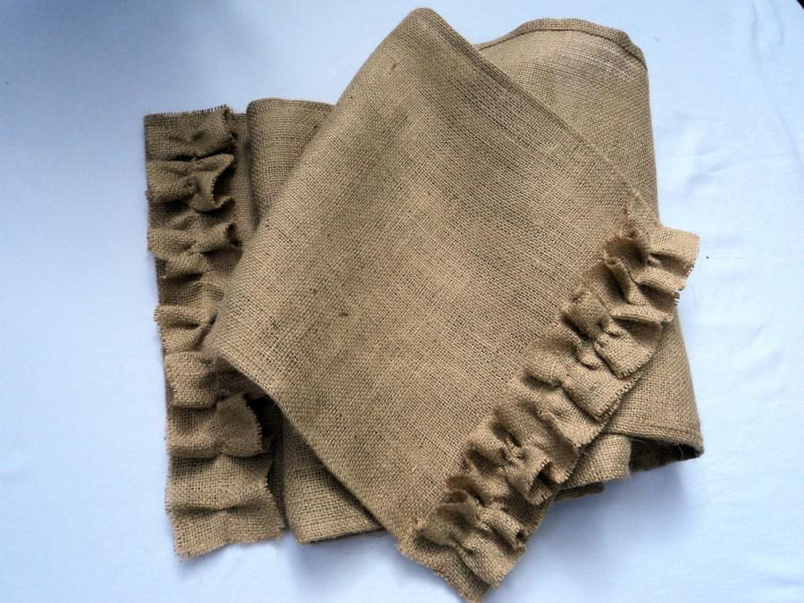 Foyer Table Runner : Burlap table runner with ruffles rustic chic home decor