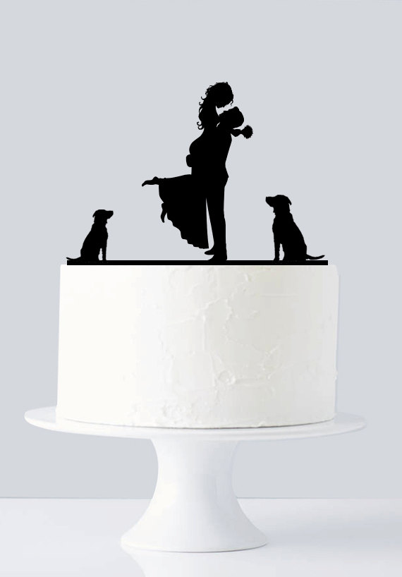 Mariage - Wedding Cake Topper, Acrylic Bride and Groom Silhouette A619