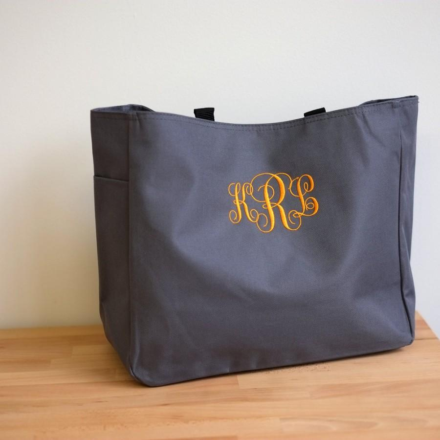 Свадьба - Bridesmaid Gift-Set of Ten (10) Bridesmaids' Monogrammed Personalized Tote Bag