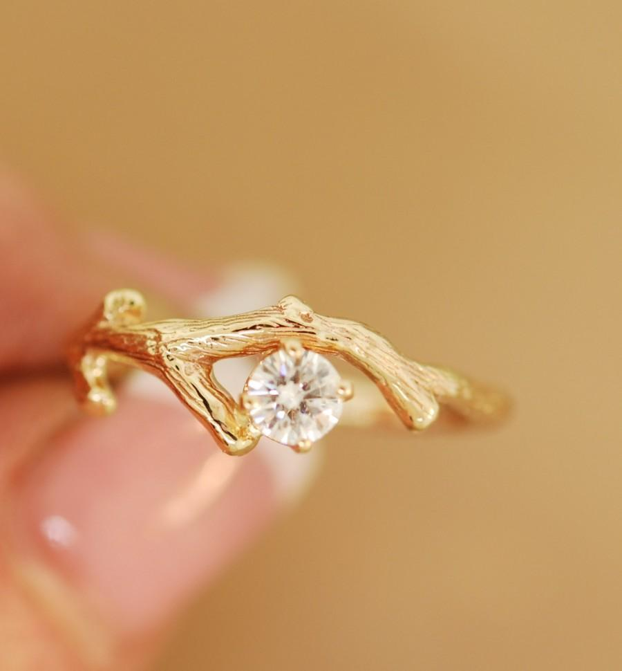Moissanite Gold Bud Branch,twig Ring,engagement Ring,stone Twig Ring,branch Ring #2448711 - Weddbook