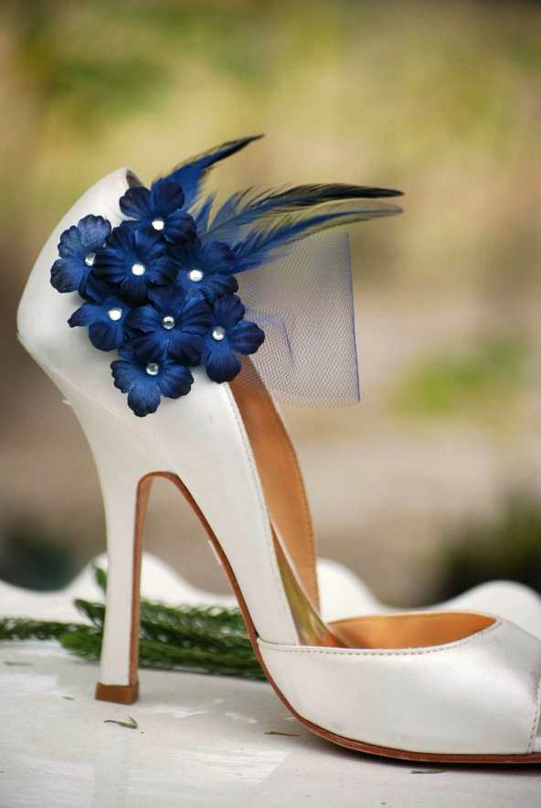 زفاف - Wedding Shoe Clips Navy / Midnight Blue Flowers. Bridal Bride Dark Marine, Silver or Gold Glitter / Pearls Center Tulle, Maritime Nautical