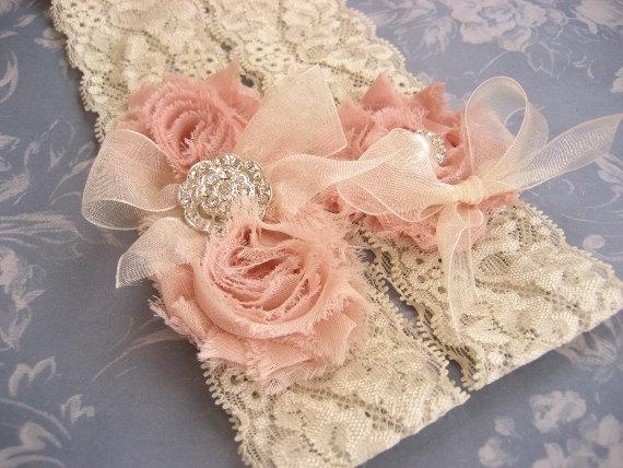 Свадьба - Vintage Bridal Garter Wedding Garter Set Toss Garter included Dusty Rose Ivory with Rhinestones and Pearls  Custom Wedding colors
