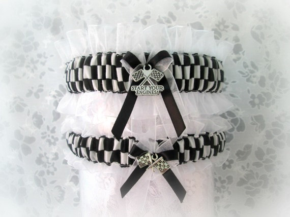 Свадьба - Racing wedding garter set - Racing Checkered flag Garters - Racing Garters Wedding - Wedding Garters