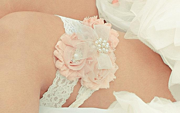 Свадьба - Vintage Bridal Garter Wedding Garter Set Toss Garter included Blush or Dusty Rose Ivory with Rhinestones and Pearls  Custom Wedding colors