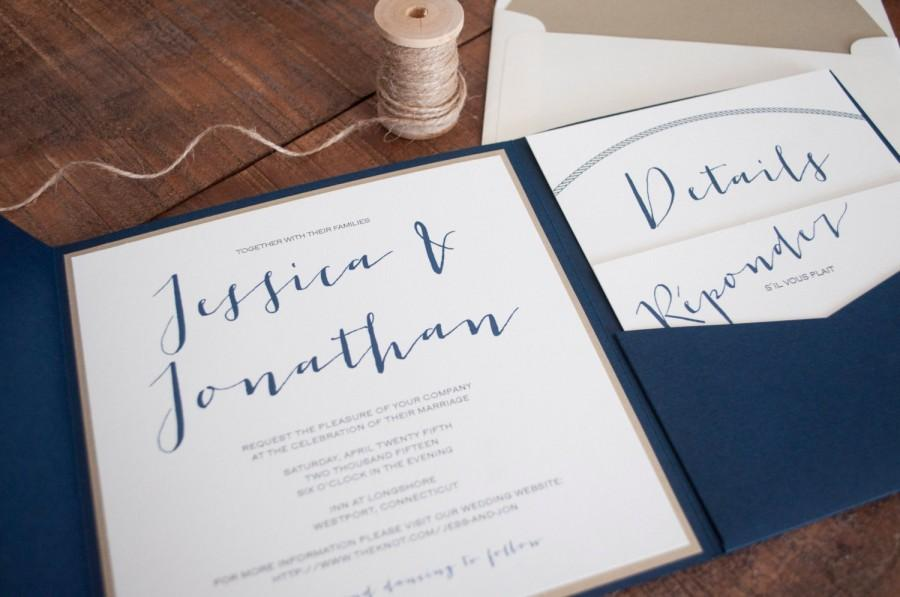 Mariage - Modern Nautical Navy Blue, Gold and Ivory Pocketfold Invitation, Twine Tie & Rope Details, Wedding - Customizable - Deposit to Start Order