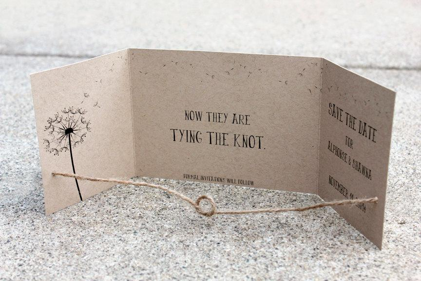 Mariage - Tying the Knot Save the Date set of 50, handmade by me Kraft Save the Date, Rustic Save the Date, Gatefold Save the Date, Knot Save the Date