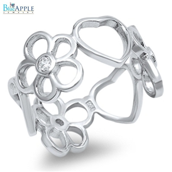 Свадьба - Cute Solid 925 Sterling Silver Heart Plumeria Ring Round Russian Ice Diamond CZ Fashion Plumeria Flower Ring Lovely Gift