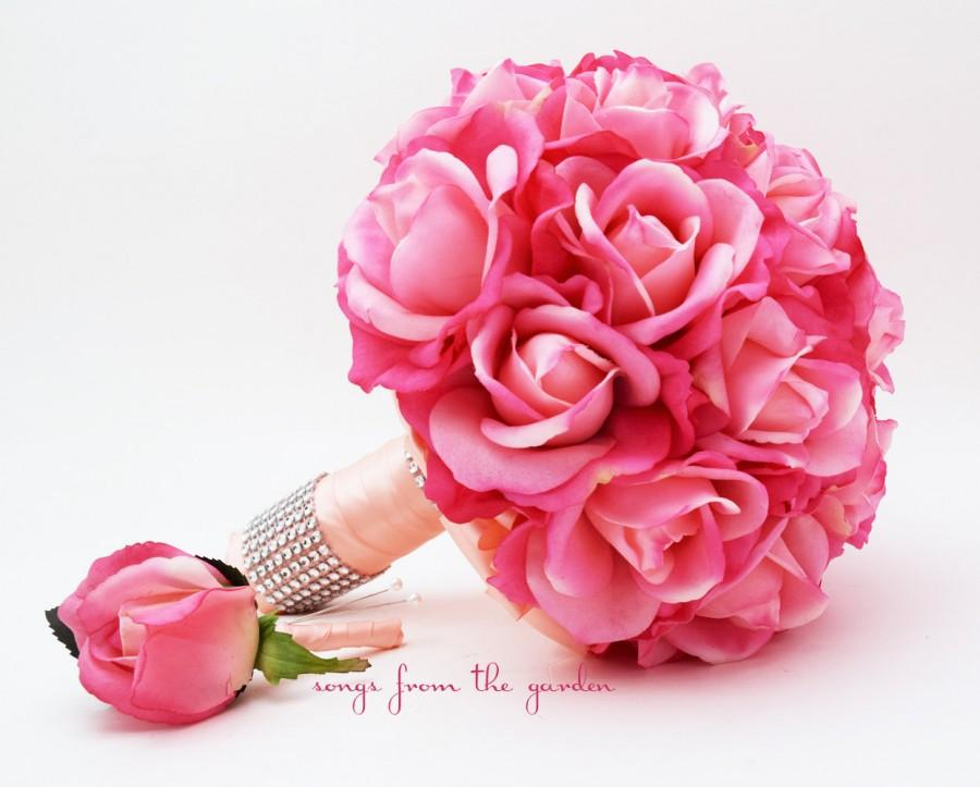 Свадьба - Bridal Bouquet Real Touch Roses Hot Pink Peach Wedding Bouquet Real Touch Silk Flower Wedding Choose Your Colors