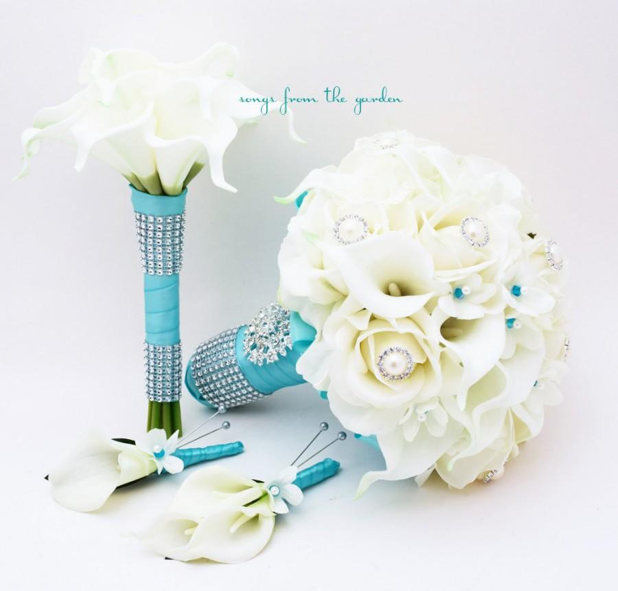 Свадьба - Bridal Bouquet Stephanotis Roses Calla Lily Aqua Blue Ribbon Bridesmaid Bouquet Groom's Groomsmen Boutonniere Real Touch Bouquet