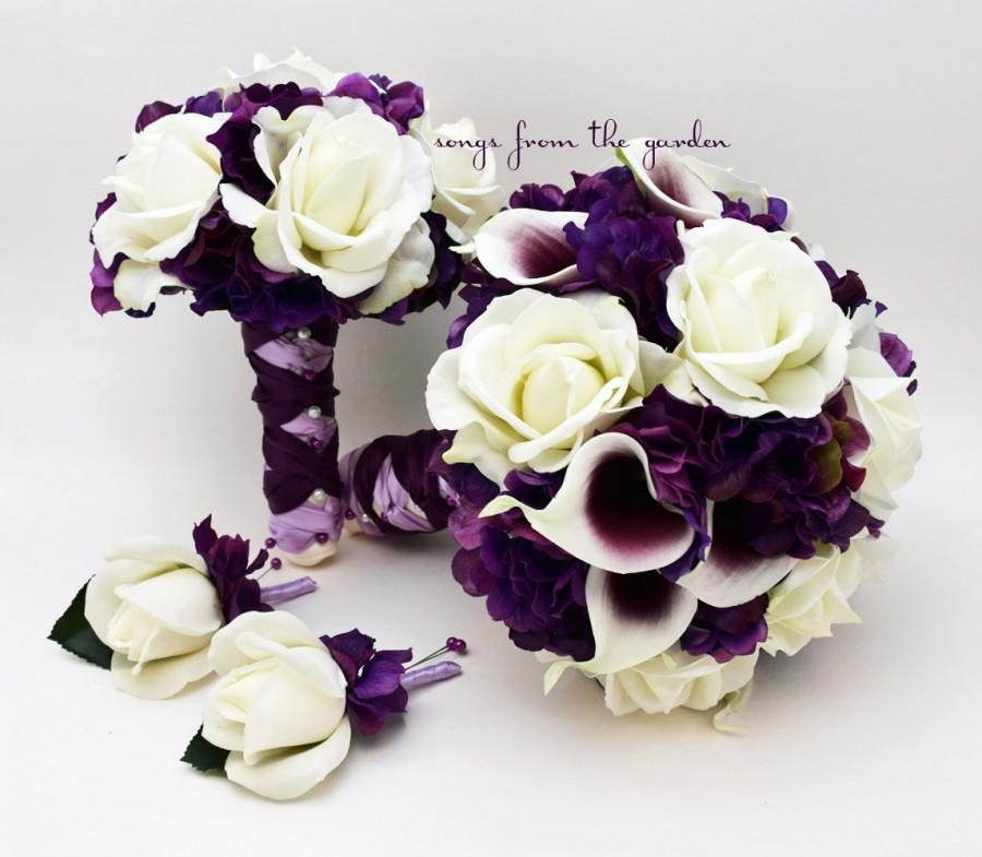 Свадьба - Wedding Package Real Touch Picasso Callas Roses Purple Hydrangea Real Touch Rose Bridal Bouquet Grooms Boutonniere Bridesmaid Bouquet
