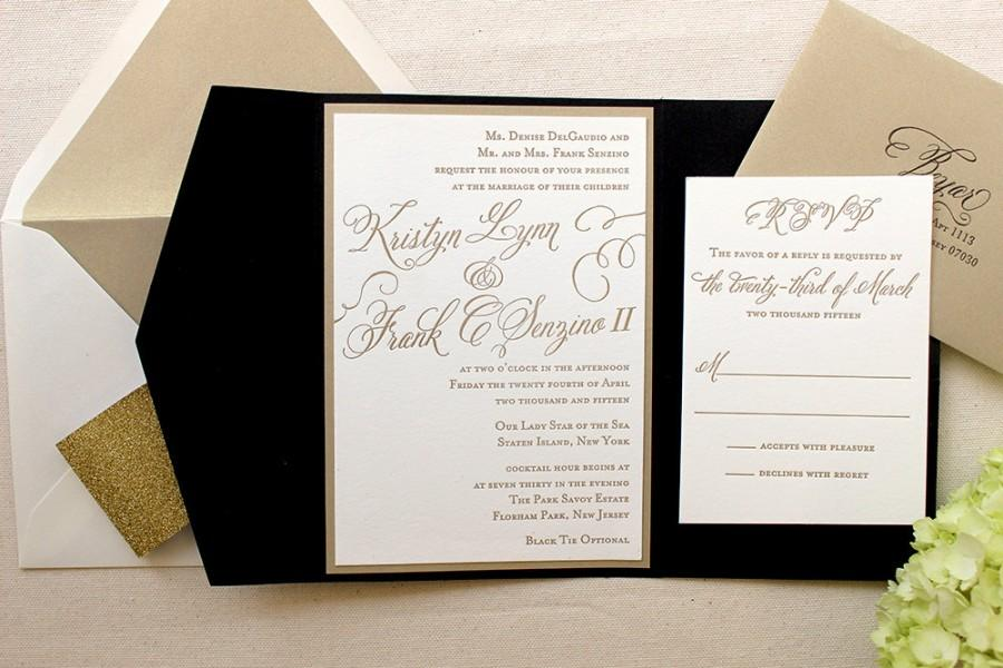 The Begonia Suite - Classic Letterpress Wedding Invitations, Black ...