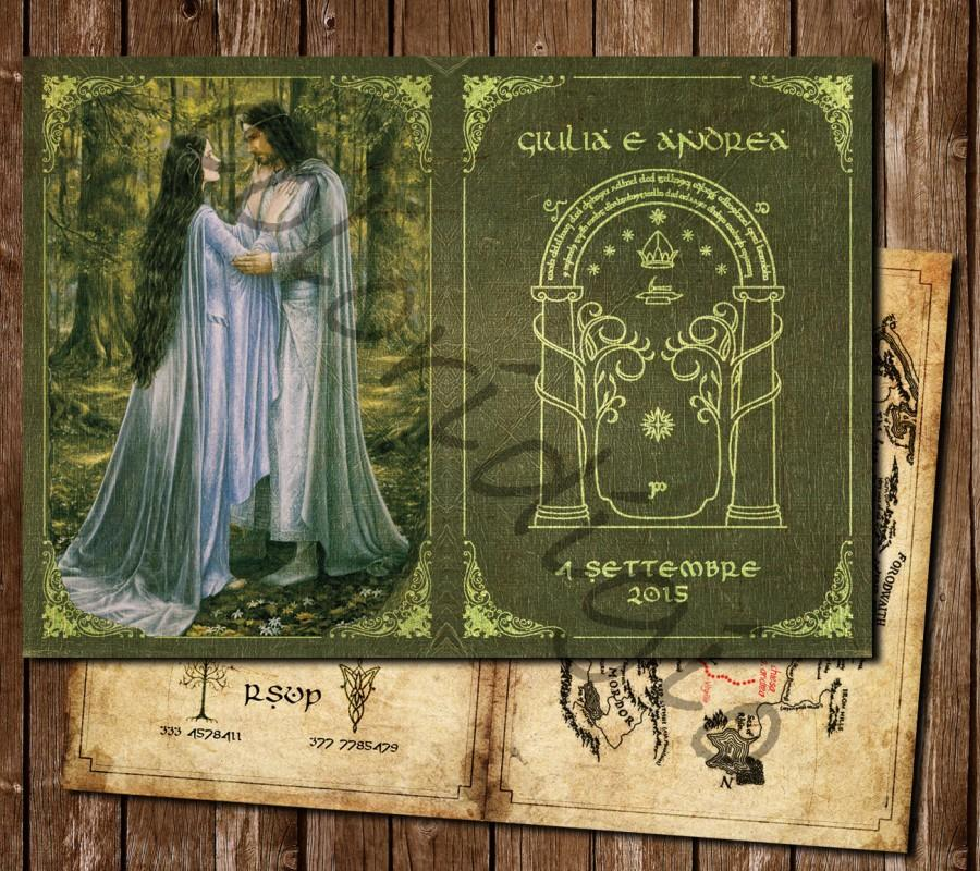 Wedding - Wedding style participation in Lord of the rings Aragorn and Arwen (or Beren and Luthien)-Lord of the rings wedding Invitation