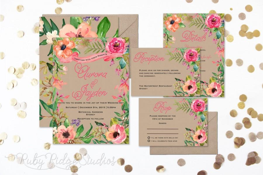 Mariage - Summer Watercolor Floral Wedding Invitation, Floral Wedding Invite, Floral Bohemian Style, RSVP card DIY Printable Invitations