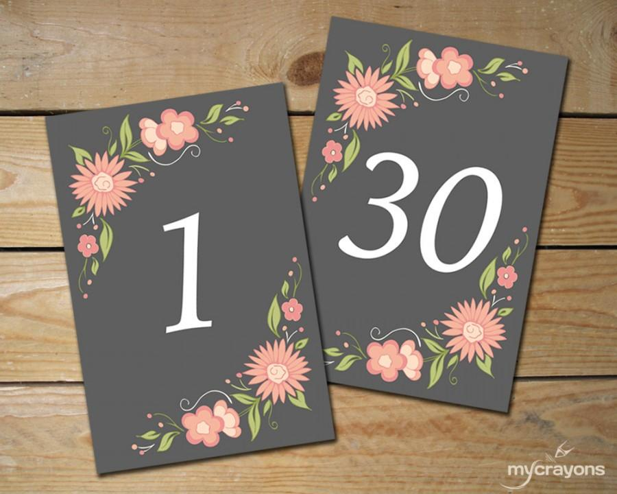 romantic floral table numbers 1 30 diy printable wedding table