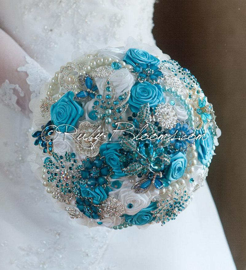 Pearl White Turquoise Wedding Brooch Bouquet Sky Blue