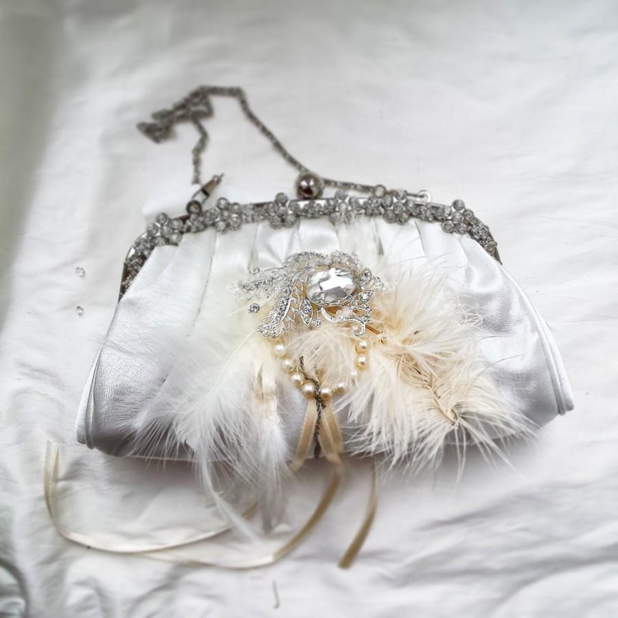Mariage - Ivory boutique purses,bridal bags, wedding purse, boutique, vintage clutch, bags, purses, sequin bag, glitter, purse,