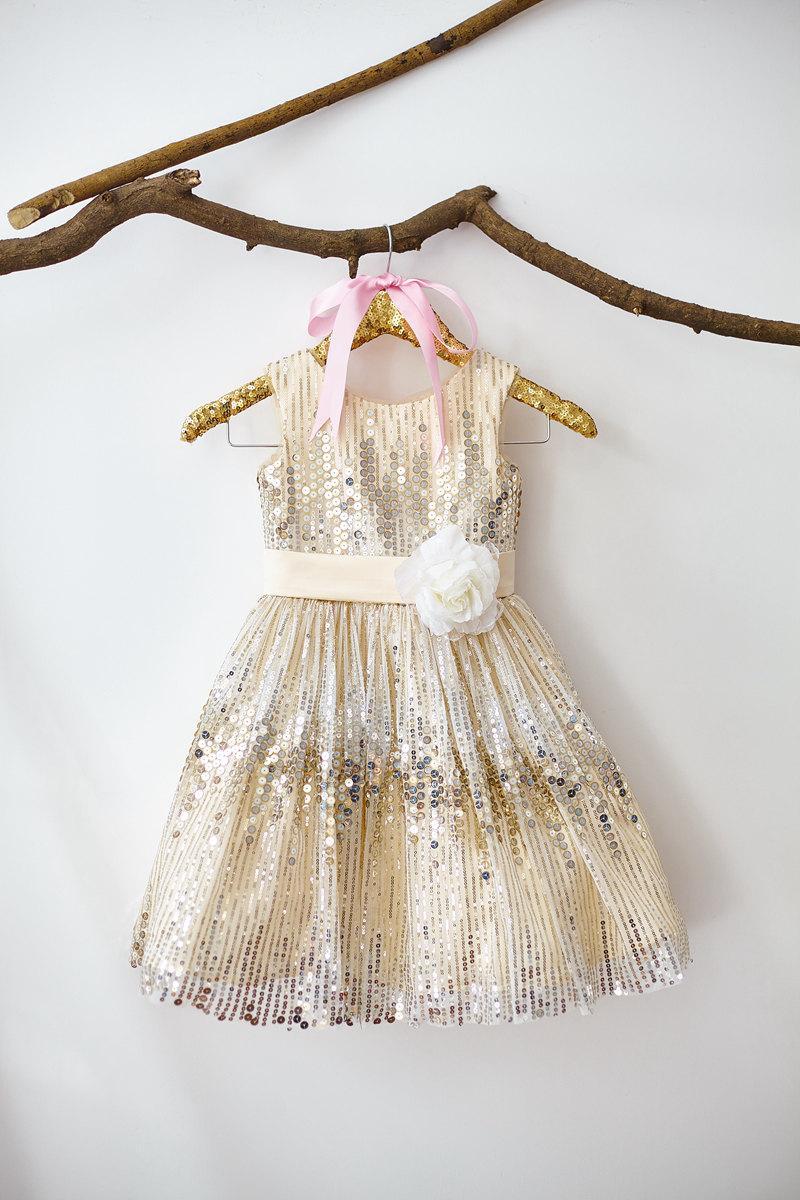 زفاف - Champagne Sequin Flower Girl Dress