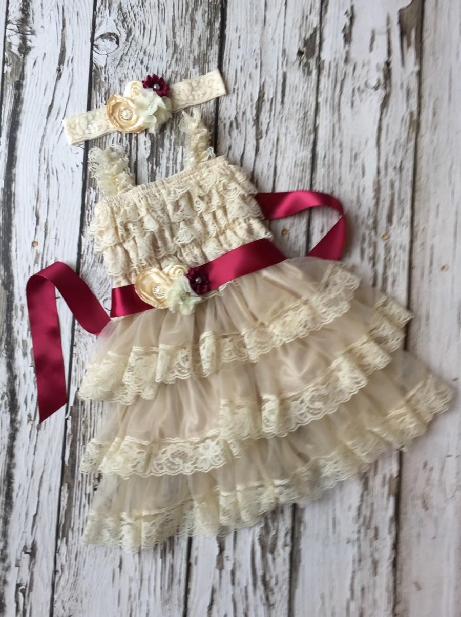 Flower Girl Dress. Champagne Flower Girl Dress. Rustic Country ...